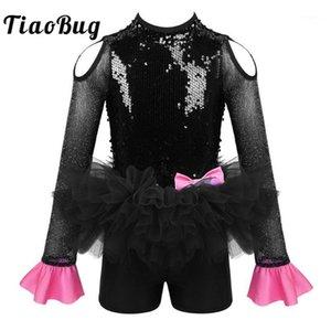 Tiaobug enfants filles manches longues paillettes Gymnastics Jumpsuit Jumpsuit tutu robe de ballet moderne Jazz Stage Performance Costume1