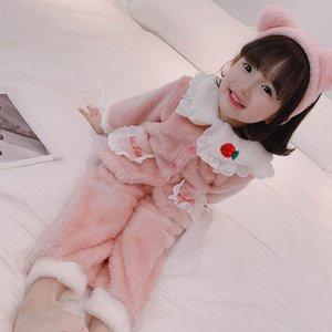 Sonbahar 2020 Yeni Kore Bebek Kız Çilek Ev Giyim Seti Çocuk Giyim Suit Toptan 11-73 W1222
