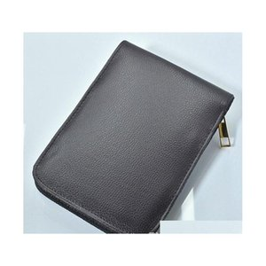 high quality zipper black   brown pu leather high-capacity pencil bags for ballpoint pen fountain pen functional pen convenient pencil re41