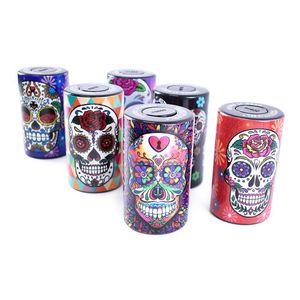 plastic cylinder rolled sealed herb tobacco pill case box jar 165ml air tight Waterproof skull storage smoking accessories