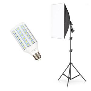 خيمة Softbox Photo Studio 50x70cm مع حامل مصباح مفرد للإضاءة المستمرة E27 مع حامل ضوء و 20W Bulb1