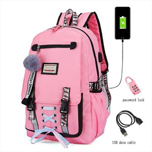2019 New Woman Usb Charging School Bags Anti theft Teenager School Bags For Girls Backpacks Mochila Infantil Escolar Pink