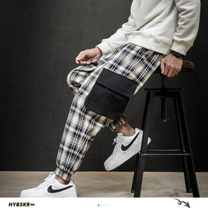 Hybskr Men's Plaid Straight Harem Harajuku Pencil Pants Trousers Japanese Streetwear Male Casual Hip Hop 2020 Fashion Pants Y1114