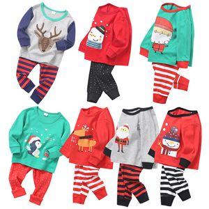 7 Estilos de Navidad pijamas del bebé Establece Niño Niña algodón de manga larga Top + pantalones 2pcs / sets otoño del resorte de la ropa de casa Trajes de Navidad para niños M3040