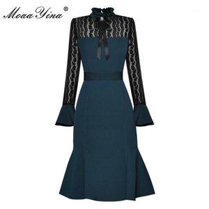 Moaayina Vestido de diseñador de moda Otoño Vestido de mujer vestido de encaje Flote Slim Package Nitocks Mermaid Vestres1