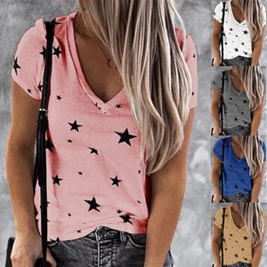 Women's T-Shirt Women V Neck Sexy Printed Stars Loose Casual Short Sleeve Ladies Clothing Bottoming Top Wild Plus Size S-2XL