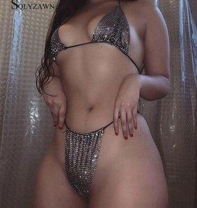 형광 컬러의 고급 중공 아웃 고삐 다이아몬드 브라 세트 여성 섹시 투명 안감 속옷 라인 석 브라 클럽 Lingere99