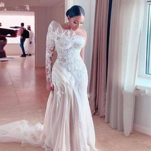 Retro Lace One Shoulder Mermaid Wedding Dresses Saudi Arabia Illusion Long Sleeve Tulle Sweep Train Bridal Gowns 2021 Spring