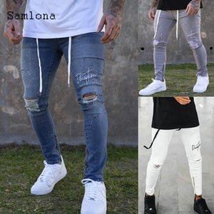 Sexy men's jeans autumn skinny adjustable hole jeans rip jeans stripe way 2020 pants pants rope pants