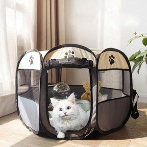 휴대용 접이식 개 케이지 애완 동물 텐트 하우스 Playpen 강아지 개집 고양이 집 팔각형 울타리 작은 큰 개 고양이에 대 한 야외 Cats Crate 201126