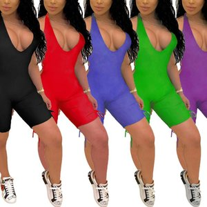Imcute Women Deep V-neck Jumpsuit Sleeveless Halter Backless Hollow Out Playsuit Rompers Sports Solid Color Lace-up Jumpsuit