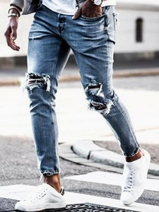 New Ny Men Streetwear Destroyed Ripped Jeans Homme Hip Hop Broken Modis Male Pencil Biker Embroidery Patch Pants