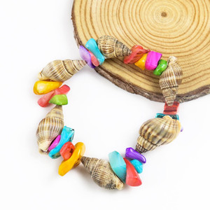 Seashell Conch Charm Bracelet Handmade Rice Snails And Colorful Square Shell Bracelet For Women Men Kids Beach Jewelry Gift H bbyYwr