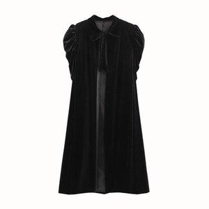 2020 Stylish Vintage Black Velvet Cape Coat anteriore Tie manica corta Plus Size tuta sportiva di inverno