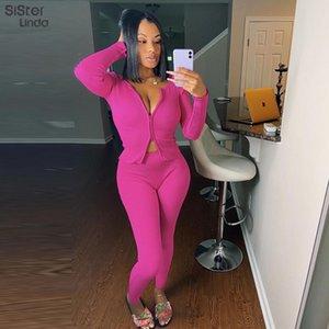 Sisterlinda nervuré Tricoté 2piece Tenues Femmes Automne Hiver Slash Tops Veste cou et leggings Assortiments Hot New Streetwear