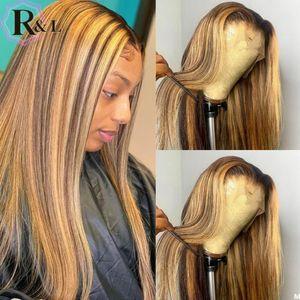 RULINDA Straight T-часть Ombre Цвет фронта шнурка человеческих волос Парики Highlight бразильский волос Remy парики шнурка 180% Плотность