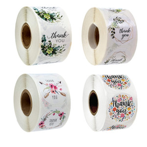 500Pcs roll Floral Thank You DIY Stickers Paper Label Stickers Scrapbooking Wedding Envelope Seals Handmade Stationery Sticker DHL Free