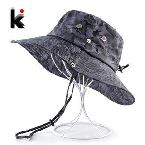 Camuflagem chapéus de sol para homens Verão aba larga Chapéu Panamá Mulheres Anti-UV Praia Caps Caça Bob Cap Visor Chapeu óssea de homens