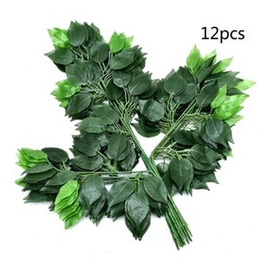 12Pcs Branch Artificial Ficus Leaf Simulation Plant Plastic Tree Branches Leaves for Party Home Decor Wedding Decoration