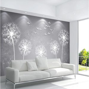 Simple dandelion wallpapers refreshing sofa bedside new background wall 3d murals wallpaper for living room