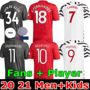 Player version Manchester 2020 2021 BRUNO FERNANDES uni Soccer Jersey Rashford Enfants Homme Football Shirt 20 21 Utd Tops équipement
