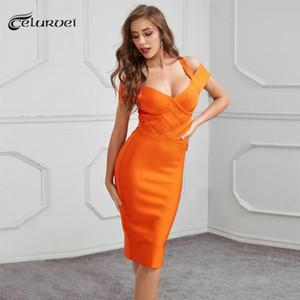 Повседневные платья Высококачественные апельсиновые розовые синие от плеча Rayon Bandage платье клуб
