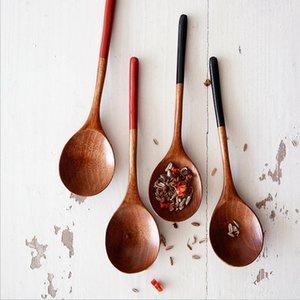 Cuillère en bois soupe à café de cuillère à café de bois massif bouillie cuillère miel café créatif japonais style vaisselle verte pour kicthen h jlljra