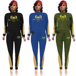 Diseñador de las mujeres del invierno de París chándales 2 dos damas juego de piezas de impresión en 3D de la letra largo de la cremallera Sportswear Trajes de lujo Deportes Ropa de moda