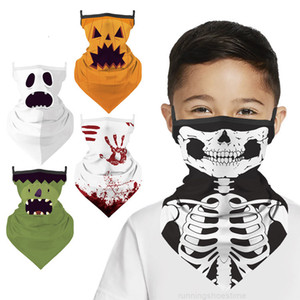 Halloween Kids Triangle Face Neck Gaiter Mask Windproof Protective Scarf for Children Outdoor Cycling Bandana 5 Styles AHB1520