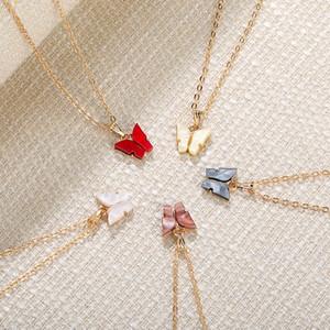 الأزياء فراشة قلادة الذهب سلسلة 2020 جديد حار سحر الاكريليك فراشة القلائد للنساء مجوهرات