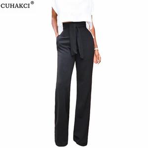 CUHAKCI vendaje de la cintura Casual Negro pierna ancha de las bragas más el tamaño de los pantalones para mujer mujeres otoño pantalones elegantes de manera femenino de la llamarada roja