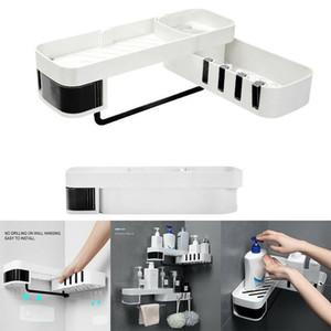 Multifuncional Canto De Armazenamento De Armazenamento De Armazenamento Nail-Free Shelf Organizador Para Cozinha Casa de Banho Parede Auto-adesiva Decoração Y200407