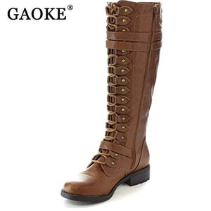 GAOKE Fashion Women Lace Up Riding Boots Chunky Low Heel Knee High Boots Buckle Side Zipper Up Winter Shoes Plus Size 43