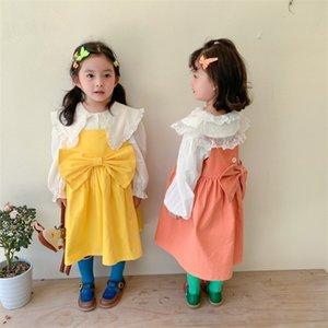 2021 Корейский стиль пружины сплошной цвет сладкие подтяжки платье для девочек девочек свободно мода маленькая принцесса большое лучь платье W1227