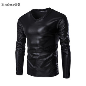 XingDeng 2020 leather sexy DJ bar TOPS and show Nightclub clothing Men's large size round collar T-shirt men tees spring clothes