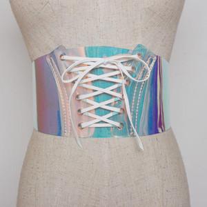 Sexy Women Bondage Transparent Clear Hologram Fashion PVC Wide Belts Laser Belt Girls Accessories