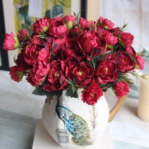 8 head Bouquet European Pretty Wedding Mini Peony Rose Artificial Silk Flower bouquet Flores Bride Home Decor Cheap Fake Flowers