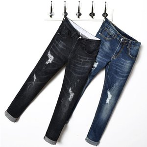 Spring and Autumn New Men Blue Ripped Jeans High Quality Small Stretch Denim Pant Black Casual Fashion Trousers 28-36