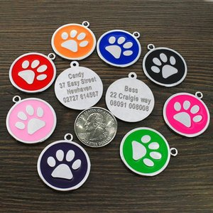 Customized Dog Id Tag Pet Personalized Tags Engraved Round Paw Pet Nameplate Pendant For Dogs & Cats With Free Gift jlluAT