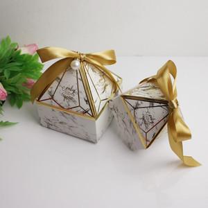 Wedding Celebration Gift Wraps Marry Silk Ribbon Diamonds Pagoda Shaped Candy Box Small Large New Pattern Packing Boxes Blue Hot Sale 0