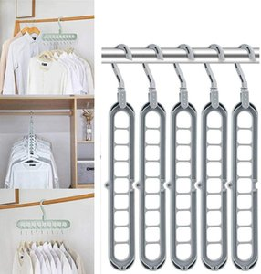 10Pcs Magic Clothes Hanger Organizer, Rotate Anti-skid Folding Hanger with Space Saving and Cascading Features, Standard Hangers with 9 Hole