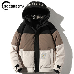GoesResta 2020 New Hombres Moda Marca Marca Gruesa Calle Wild Invierno 90% Blanco Ganso Blanco Bajo Abrigo Cálido Jacket Hombres