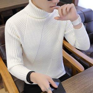 Maglione a strisce da uomo con maglione da uomo maglione in lana maglione maschile oversized Turtle Neck Uomo Pull Jumper stile coreano bianco
