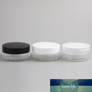 50g Empty Clear Pet Cream Jar Pot with White Black Clear Lids with PE Pad 5 3oz Cosmetic Container Thread Size 67mm 24pcs