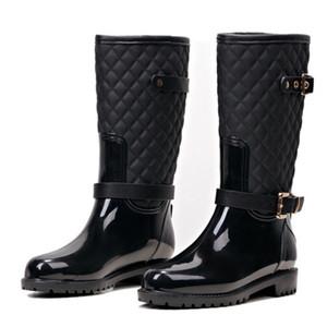 Hot sale-Fashion Women Mid-calf High Heels Rain Boots Slip-On Waterproof Low Solid Size Chunky Heel Design Buckles Shoes