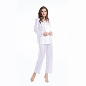 Womens Clothing Mulberry Long Full Length Ladies 19 Momme 100% Real Silk 2pc Pajama Set With Button Front Q1202