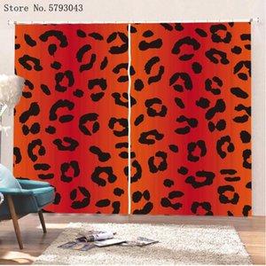 Hauttiere Muster Fenstervorhänge 3d drucken Leopardfenster Drapes Home Cartoon Behandlung 2 Paneele Bunter Vorhang