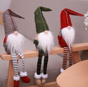 Yeni 50cm Noel hediyeleri çocuklara hediyeler yaşlı kolye hediye pencere dekorasyon için uzun bacaklı peluş bebek bebek süslemeleri