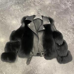 Marka 2020 Lüks Gerçek Kürk Kış Ceket Kadınlar Natürel Gerçek Deri Lokomotif Dış Giyim Streetwear Kalın Sıcak