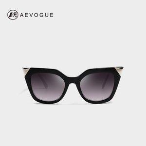 AEVOGUE Gafas de sol Mujeres Gato Gato Irregular Templo Curvado Moda Sombras Vintage Gafas Gafas UV400 AE0203B1